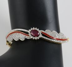 Very Exclusive Yellow Gold Diamond Bracelet with 2.10 ct. Ruby and 2.25 ct. Diamonds and Enamel work