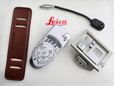 4 accessories for LEICA  MC cell + viewfinder + flash cord + accessory belt
