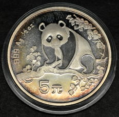 China - 5 Yuan 1993 Panda 1/2 oz 999 Silver Proof