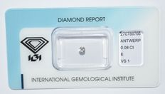 0.08 ct brilliant cut diamond, E, VS1