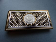 Money clip, with Romanov eagle and authentic silver coin, Faberge Imperial Collection by Franklin Mint