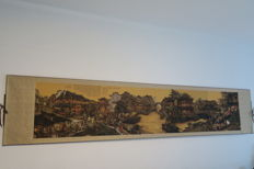 Scroll painting by the artist Zhang Xiaoyou – art print of an old water city – China – 21st century