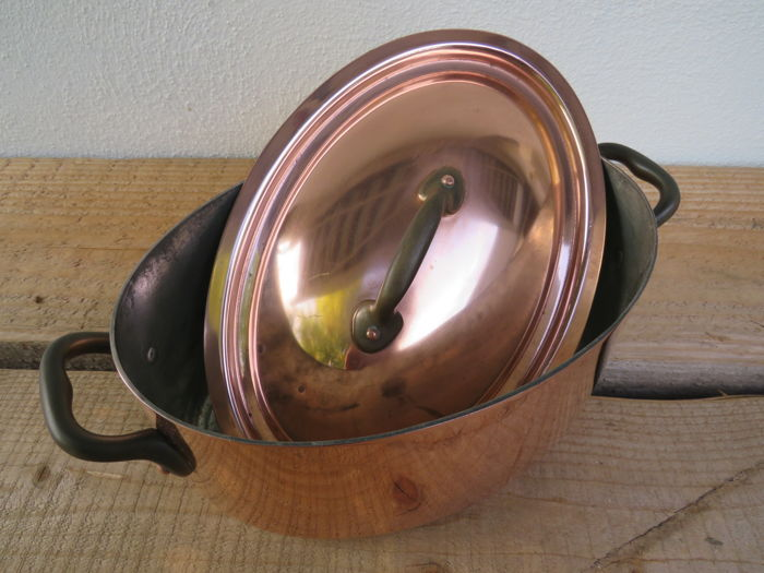 Heavy French copper fish kettle