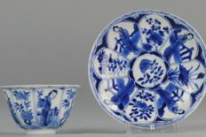 Antique porcelain cup and saucer figures landscape marked - China - ca1700 (kangxi period)