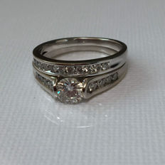 14K gold Engagement ring set with diamonds 1.50Ct total  - Size 7,5