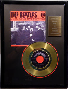 "The Beatles - A Hard Days Night - 7"" Single Parlophone Records golden plated record Special Gold Edition"