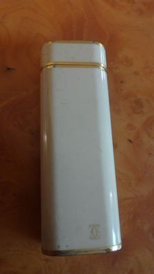 Cartier Paris lighter gold plated, beige lacquer