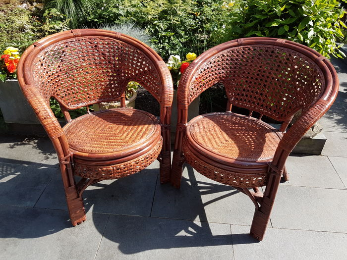 Pair of handcrafted design wicker chairs