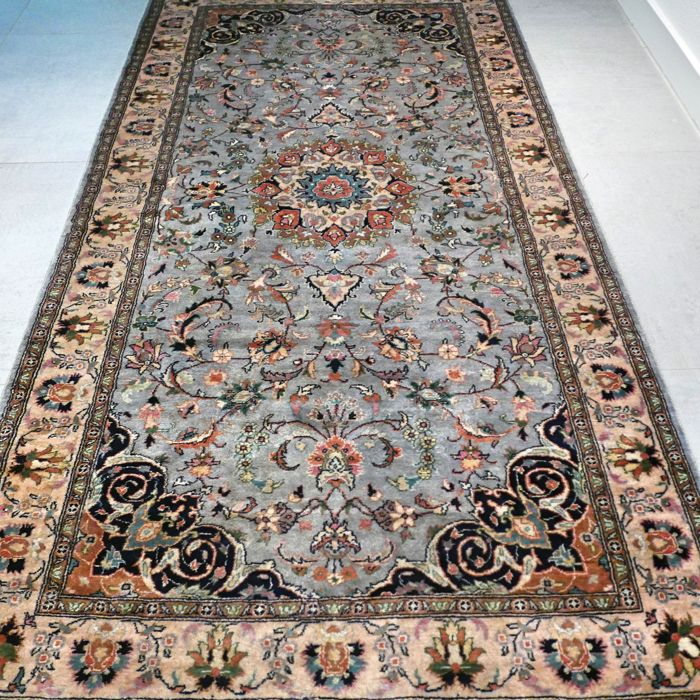 Magnificent, light blue, Kashmir Isfahan carpet - 200 x 105 - very good condition - special design