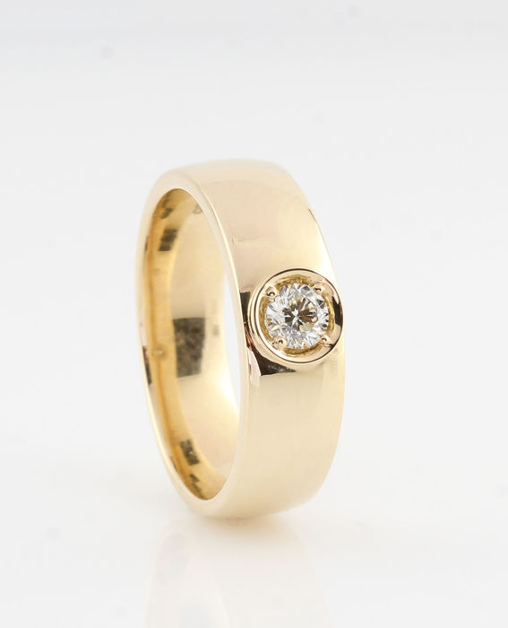 "14 karat gold diamond ring 0.27 ct / 1 round brilliants / G-VS1 / 7.00 grams / 56.5 / ""NEW"""