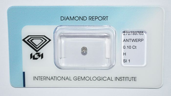 0.10 ct brilliant cut diamond, H, SI1