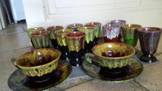 Signed Petit Masse - Pottery Tamnay Bazois - Flambé sandstone of the Morvan - 12 coffee Mazagrans & 2 duo breakfast cups