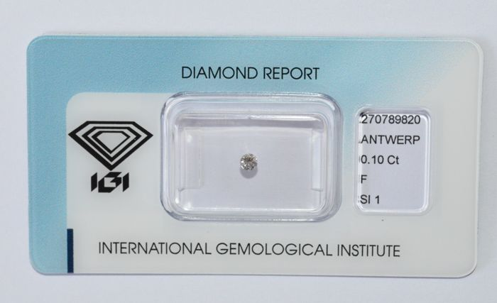 0.10 ct Brilliant cut diamond, F, SI1