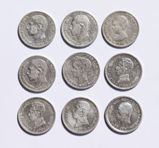 Spain - collection of 9 different silver 50 cents coins of Alfonso XII and Alfonso XIII.