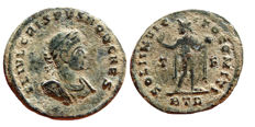 Roman Empire - Crispus as caesar (317-326 A.D.) bronze follis (2,82 g. 20 mm). Trier T/F BTR SOLI INVICTO COMITI. Rare!!