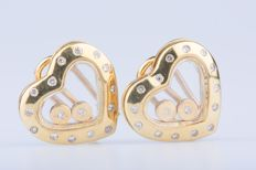 18 kt yellow gold earrings with 32 diamonds - approx. 0.32 ct