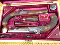 Pair of French Percussion Duelling Pistols 1850/1860 in case