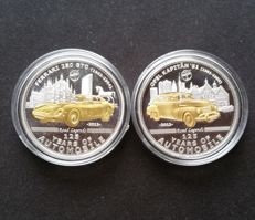 Palau – lot of 2 x 5 Dollar – 2012 – 125 Years of Automobile Ferrari 250 GTO and Opel Kapitän '51 – silver