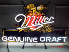 """Rarity!! Original neon """"Miller genuine draft beer"""" sign with label, America's quality beer since 1855"""