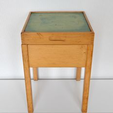 Designer unknown - wooden storage stool/side table with linoleum table top