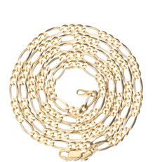 Bi-colour, yellow/white gold Figaro link necklace - 14 kt - Length: 62.5 cm