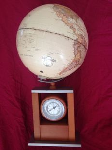 Earth globe with world clock