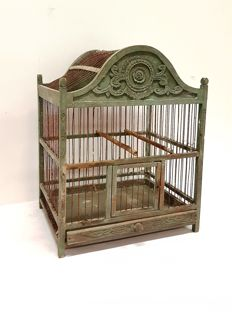 Antique French bird cage of wood and iron