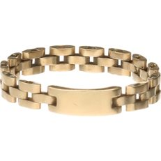Yellow gold ring of 14 kt, with Rolex links – Ring size: 19 mm