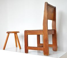 Designer unknown- wooden (school) children's stool and highchair