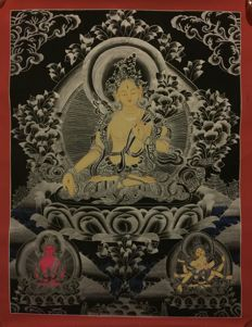 Hand painted White Tara Thangka painting - Tibet/Nepal- Late 20th century