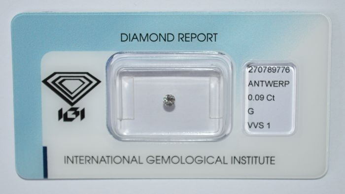 0.09 ct, brilliant cut diamond, G, VVS1