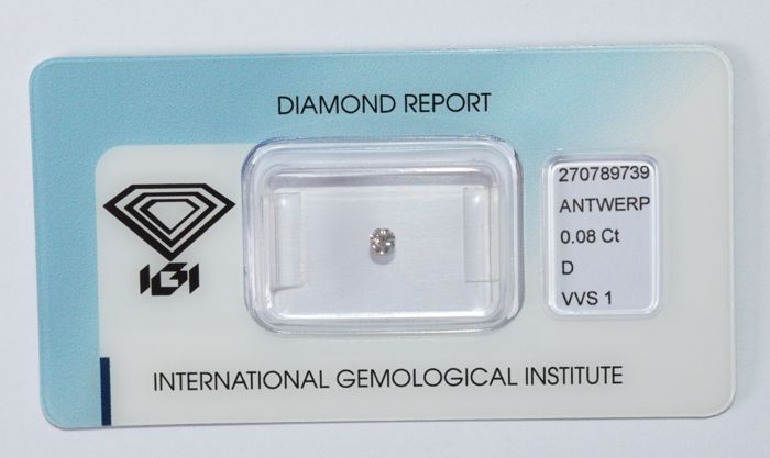 0.08 ct, brilliant cut diamond, D, VVS1