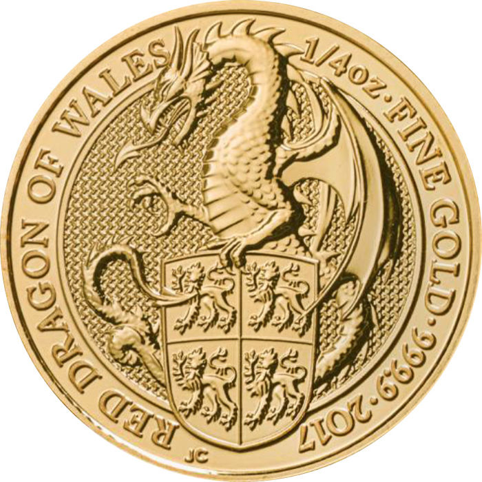 Reino Unido - 25 Pounds 2017 Red Dragon of Wales - ¼ oz .999 - Oro