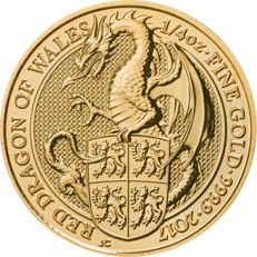 "Great Britain - 25 pounds 2017 ""The queen's beasts - red dragon of Wales"" - 1/4 oz gold"