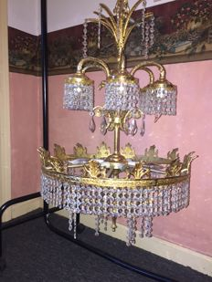 Large Brass and Crystal Chandelier, second half 20th century