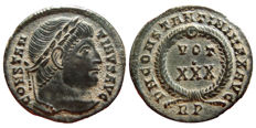 Roman Empire - Constantine I the Great (307-337 A.D.) bronze follis (2,96 g. 20 mm). Rome mint, 329 A.D. D N CONSTANTINI MAX AVG, VOT XXX within wreath. RP. Rare.