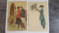 lot of 30 postcards in small format, women with hats/horses by various illustrators