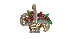 Pendant flower basket made of 585 / 14 kt gold with natural rubies, emeralds and brilliant-cut diamonds, circa 1965