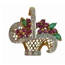 Pendant / brooch flower basket made of 585 / 14 kt gold with rubies, emeralds and brilliant-cut diamonds