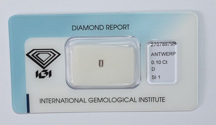 0.10 ct, baguette cut diamond, D, SI1