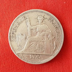 Indochina Francesa - Piastre de Commerce 1896 A (Paris) - Plata