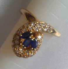 Gold 18K diamonds 0,60 ct and sapphire - size 53.5