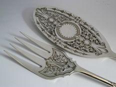 Silver plated fish cutlery openwork and engraved - Mappin & Webb England - 1887
