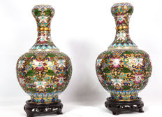 A pair of champlevé vases - China - second half of the 20th century