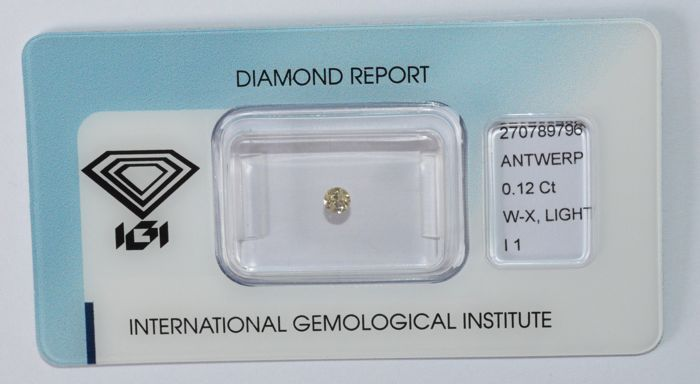 0.12 ct brilliant cut diamond, W–X, P1