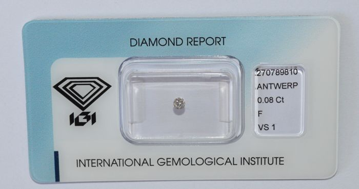 0.08 ct brilliant cut diamond, F, SI1