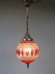 Hanging lamp with cut glass ball