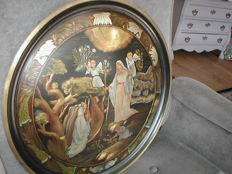 Large antique hand-coloured copper engraving wall plate with religious image c. 1900