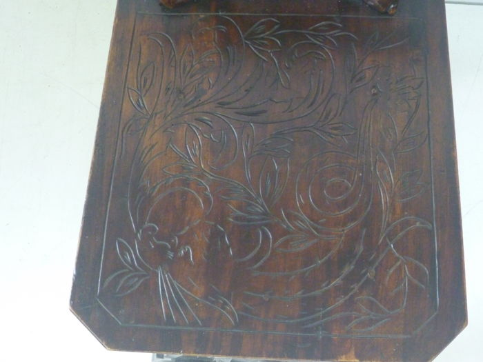 Sgabello in walnut richly decorated italy ca catawiki