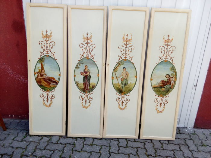 Four wooden doors painted in 1700s style - Italy - 1950